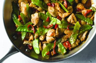 Stir-fried chicken and snow peas