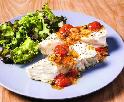 Halibut with roasted garlic and cherry tomatoes