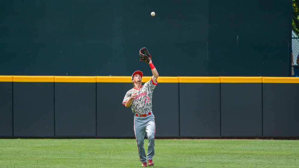 Tyler McDonough Catches Fly Ball