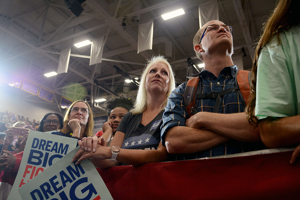 Attendees listen to Elizabeth Warren