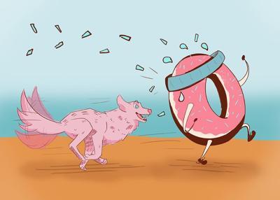 Krispy Kreme Wolf Running After Donut