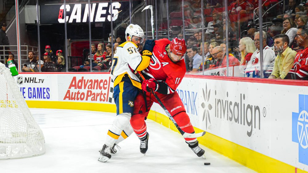 Canes_Staal Fights For Puck