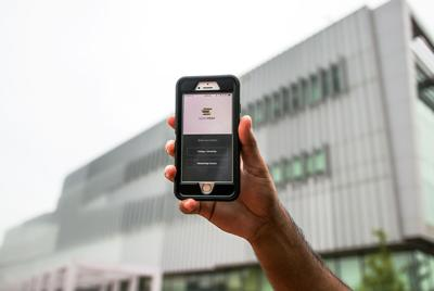 OpenStax App in front of Hunt library