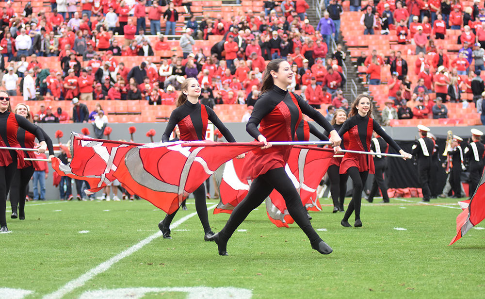 FBvsECU Colorguard Performs with Flags