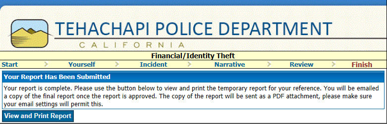 TPD introduces online police reports | News | tehachapinews com