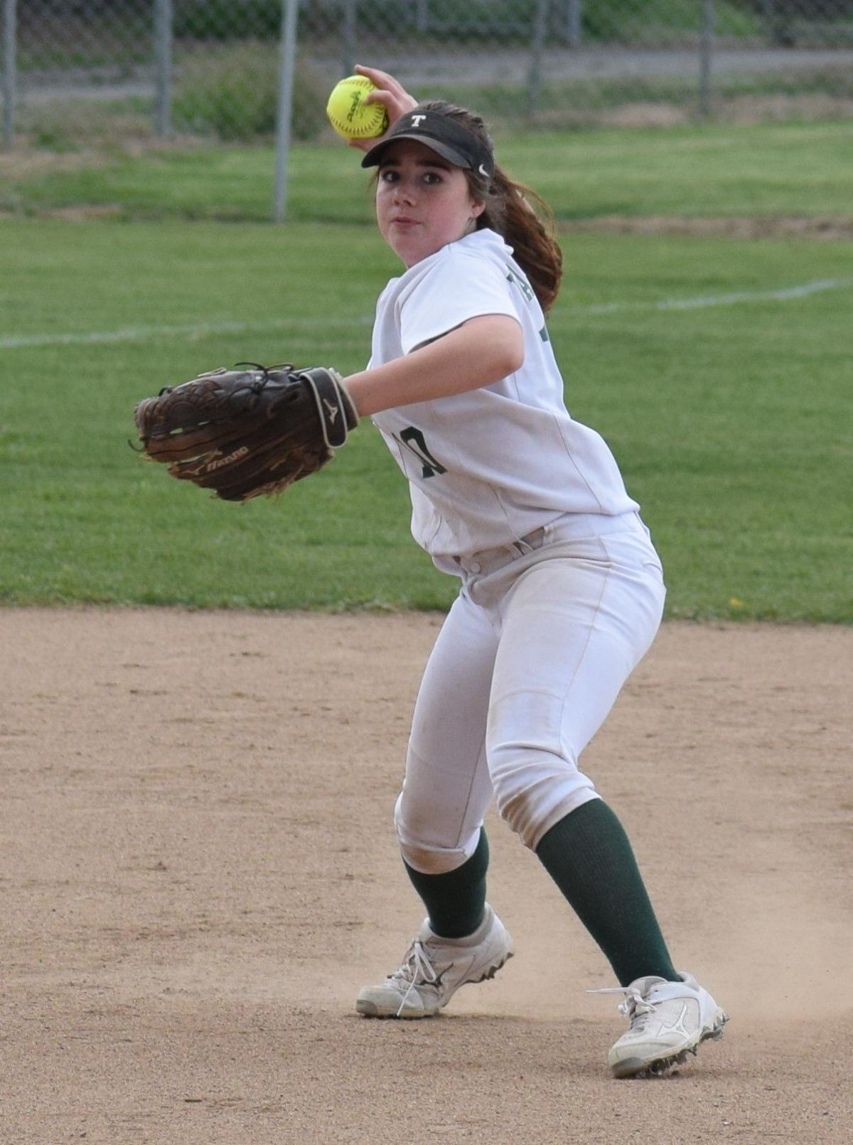 Emma Barret making the play at short stop. By Melissa Davis.JPG