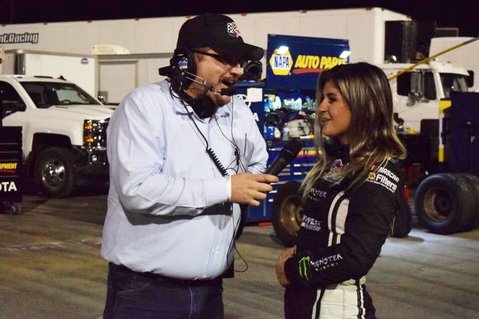 Corey Costelloe interviews NASCAR K&N West Series Driver Hailie Deegan Following Her Second Place Finish at KCRP.JPG