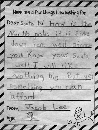 You can send your letter to Santa.