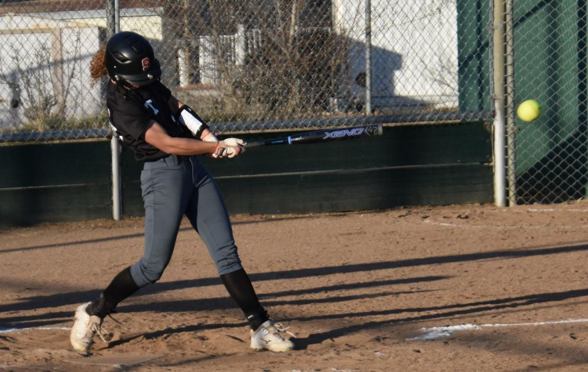 Maleena Davis hit to left field.JPG