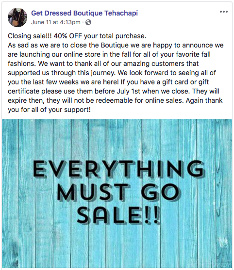 Get Dressed Boutique announced June 1 on Facebook that the store is closing.