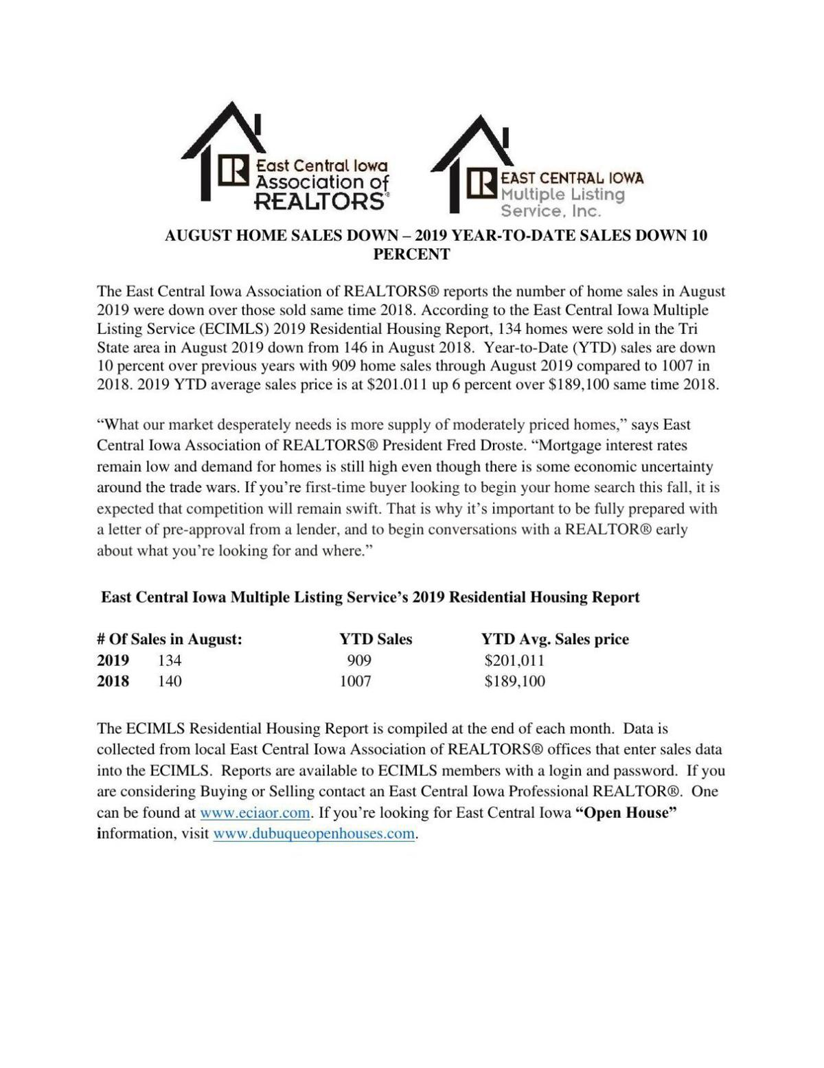 August home sales report