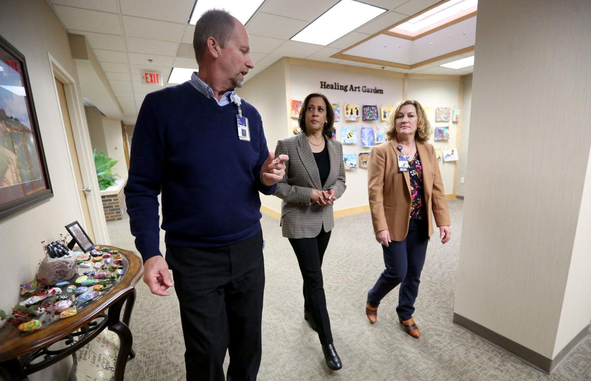 Kamala Harris tours Wendt Regional Cancer Center