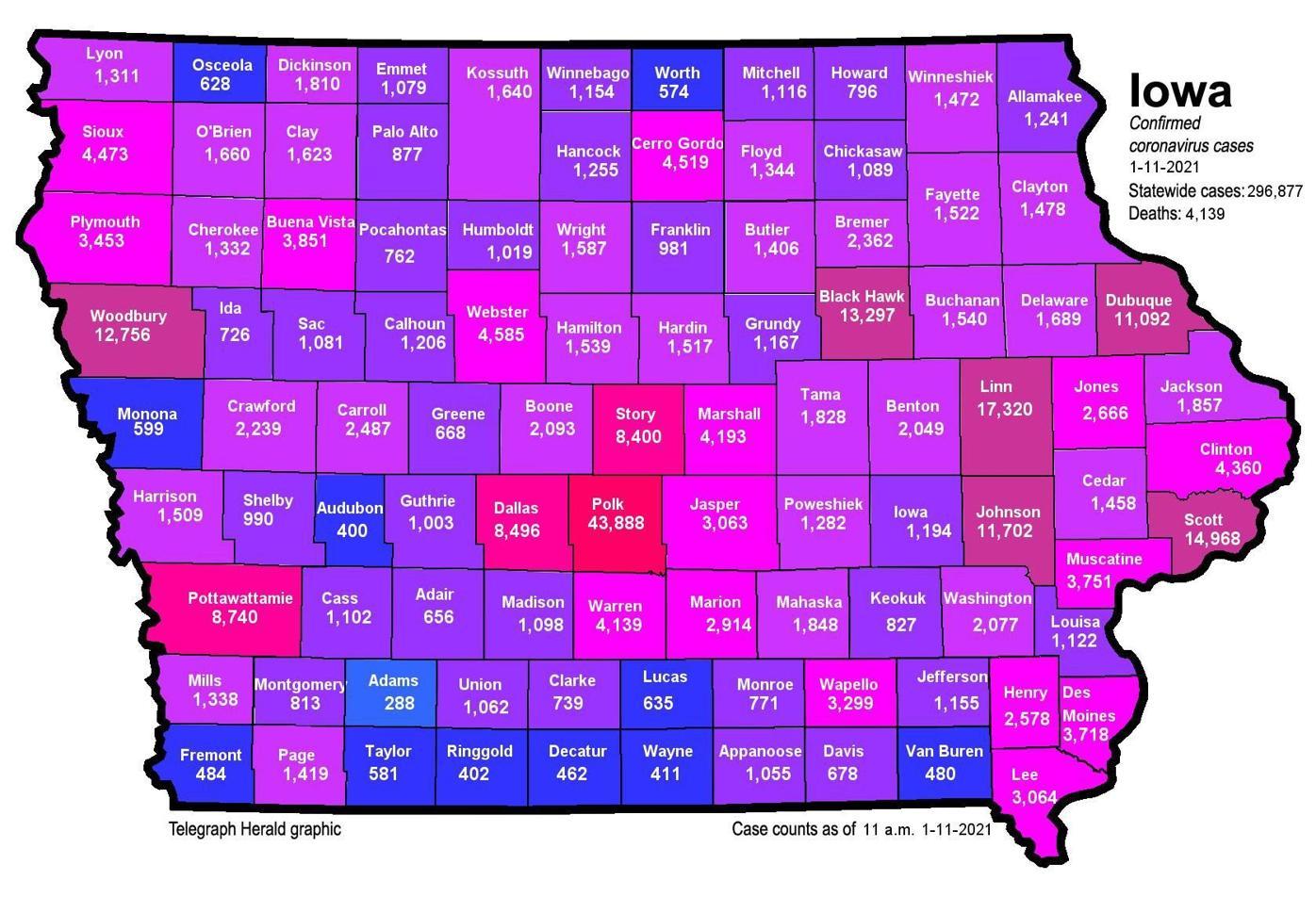 Where is COVID-19 in Iowa 01-11-2021