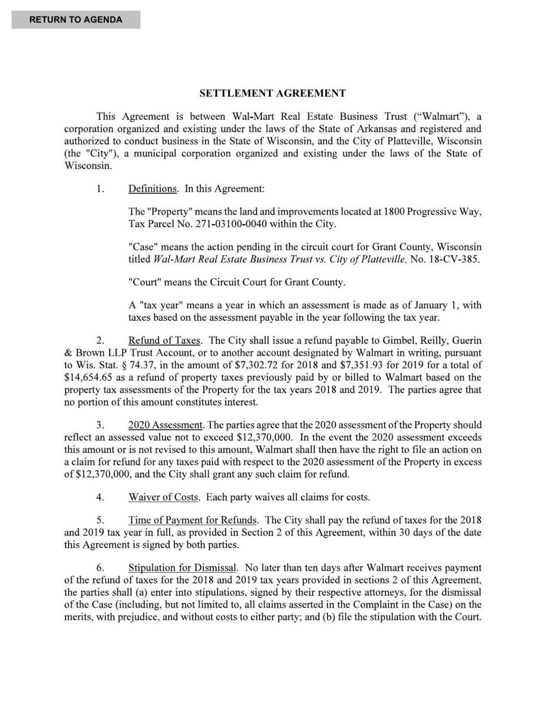 Walmart Settlement Agreement Telegraphherald Com
