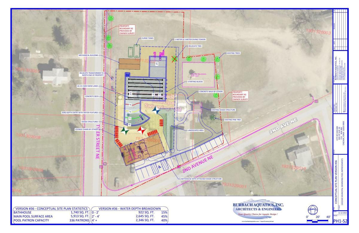 Cascade Iowa Map.Cascade Pool Project Conceptual Design Telegraphherald Com