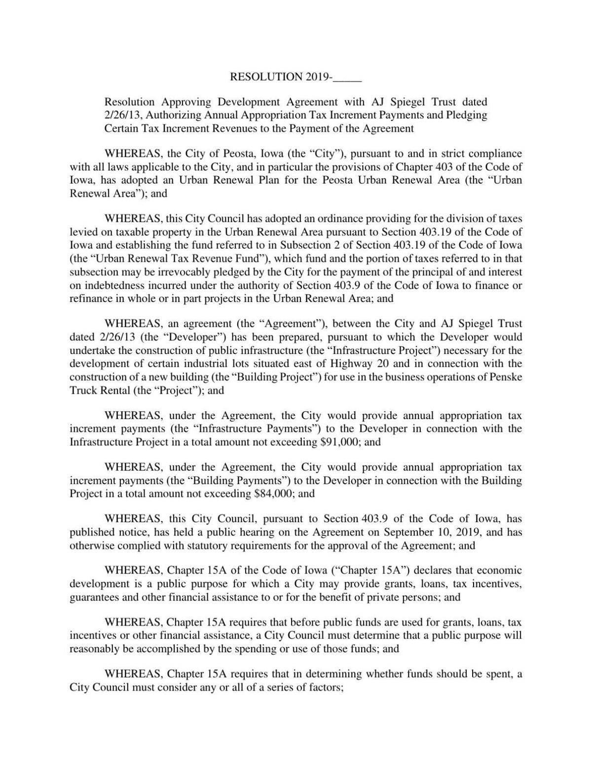 Resolution Approving Development Agreement with AJ Spiegel Trust dated 2/26/13