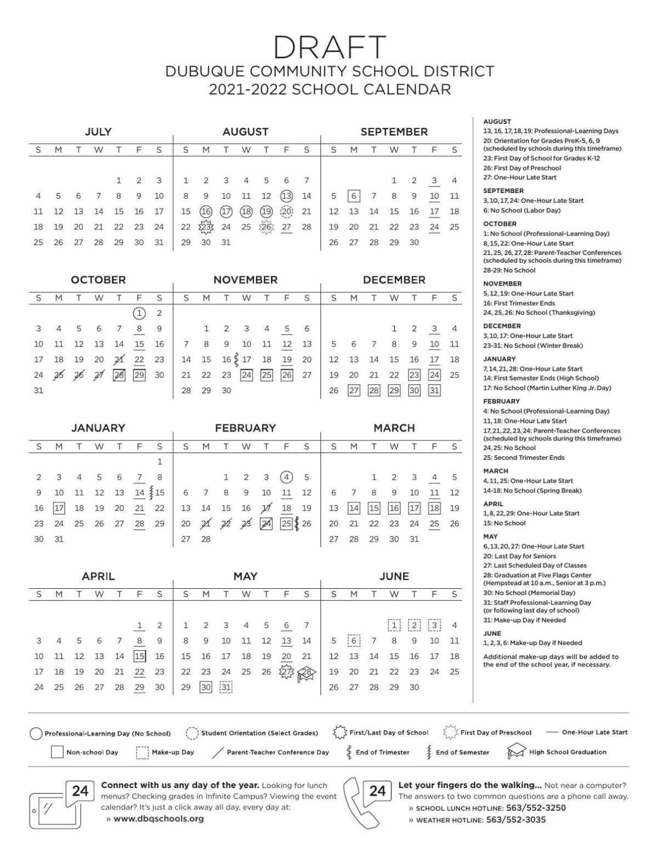 Uw 2021-2022 Calendar Dubuque schools proposed calendar 2021 2022 | Tri state News
