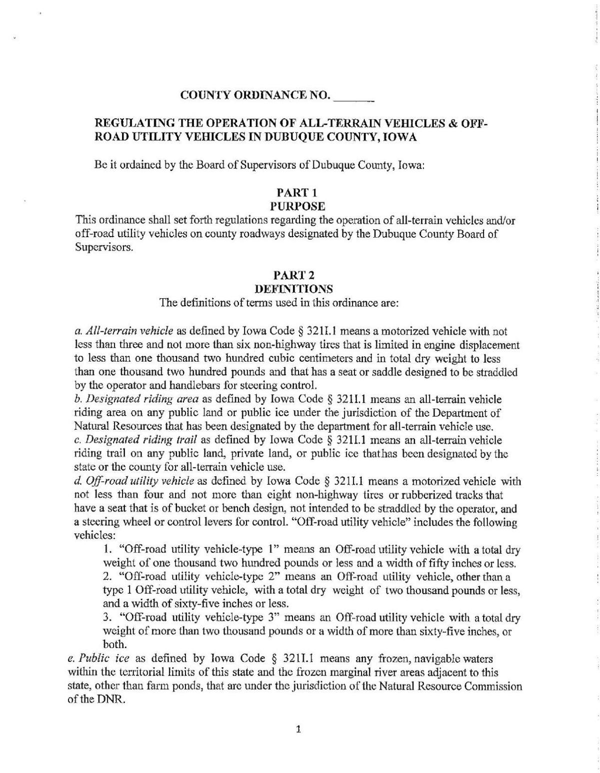 Dubuque County ATV/UTV ordinance
