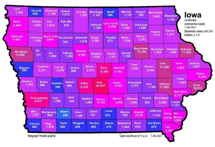 Iowa COVID-19 map