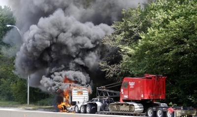 Officials seek cause of semi-tractor trailer fire
