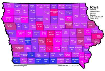 Iowa COVID map 02222021