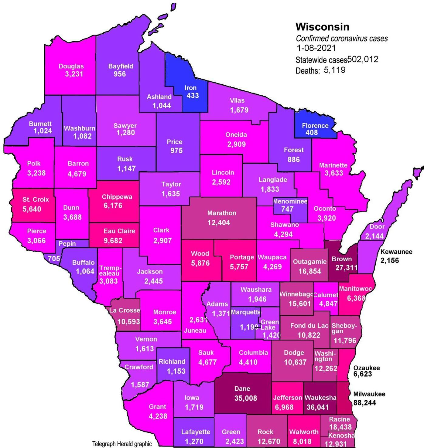 Where is COVID-19 in Wisconsin 01-08-2021