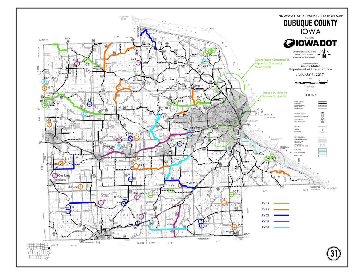 Dubuque County 5 Year Road Project Map Telegraphherald Com