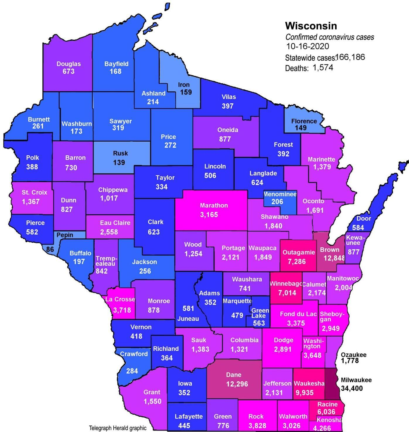 Where is COVID-19 in Wisconsin (10-16-2020)