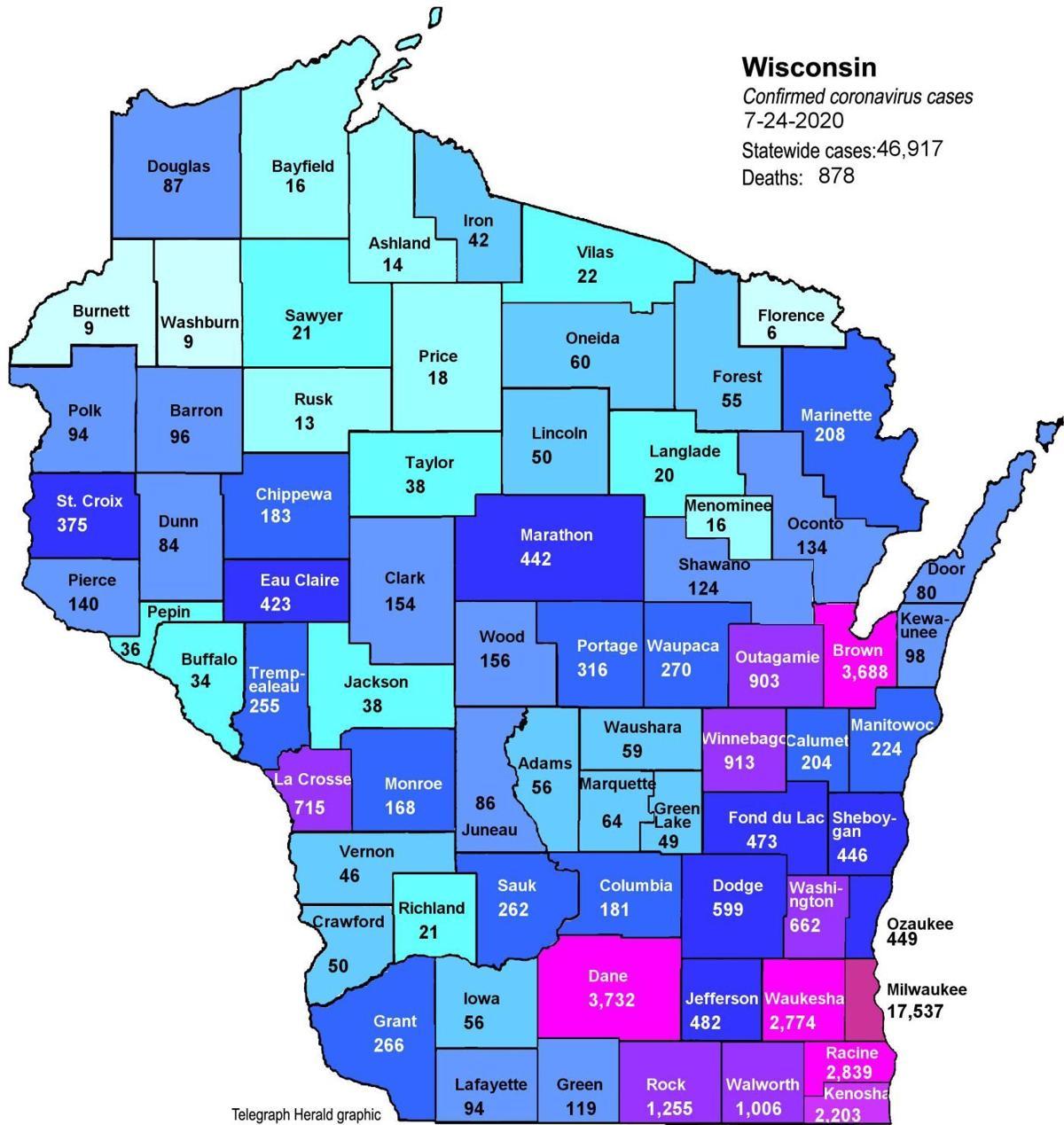 Where Is Covid 19 Maps Of Confirmed Cases In Illinois Iowa Wisconsin As Of Friday Coronavirus Telegraphherald Com