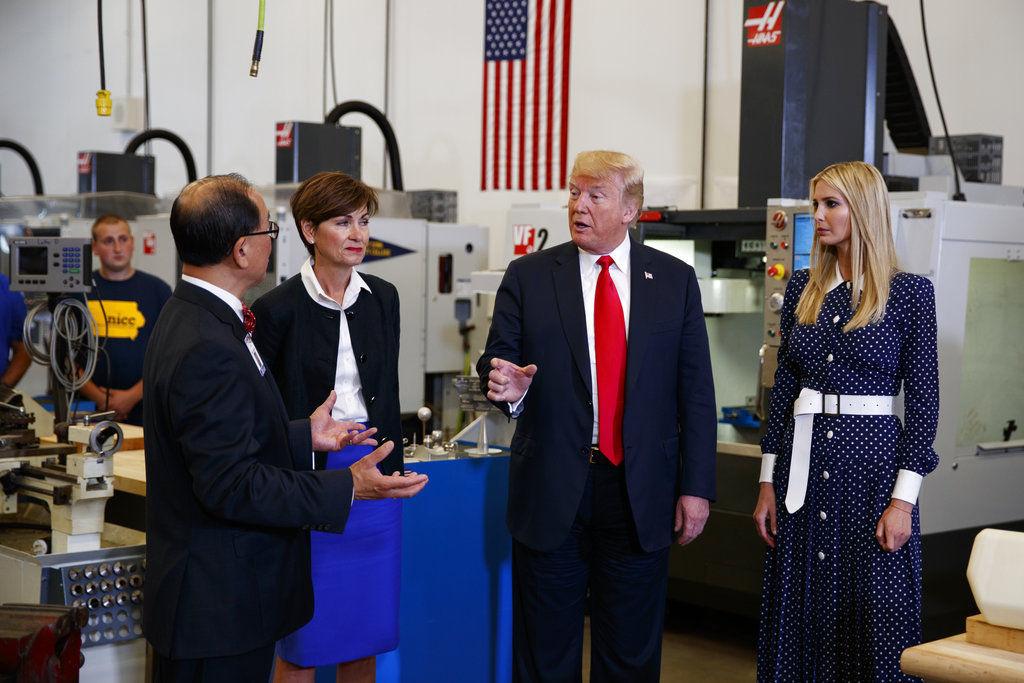 Hasil gambar untuk President Donald J. Trumpand Ivanka Trump visit Iowa