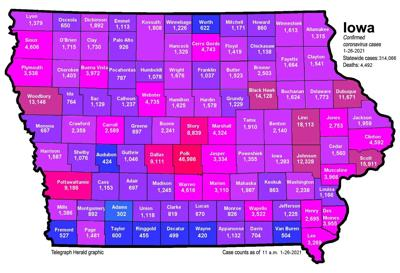 Where is COVID-19 in Iowa 01-26-2021