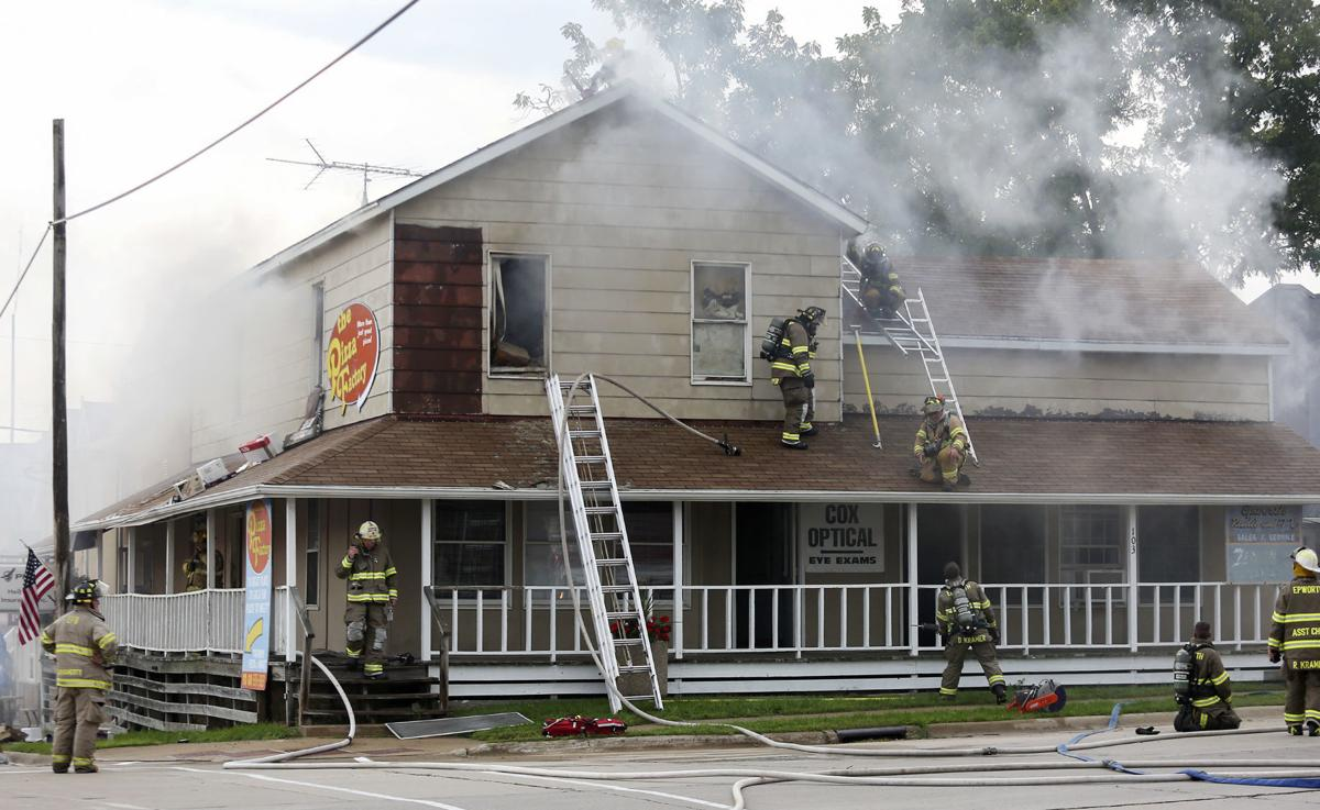 UPDATE: Epworth firefighters battling blaze in structure housing Pizza Factory, other businesses