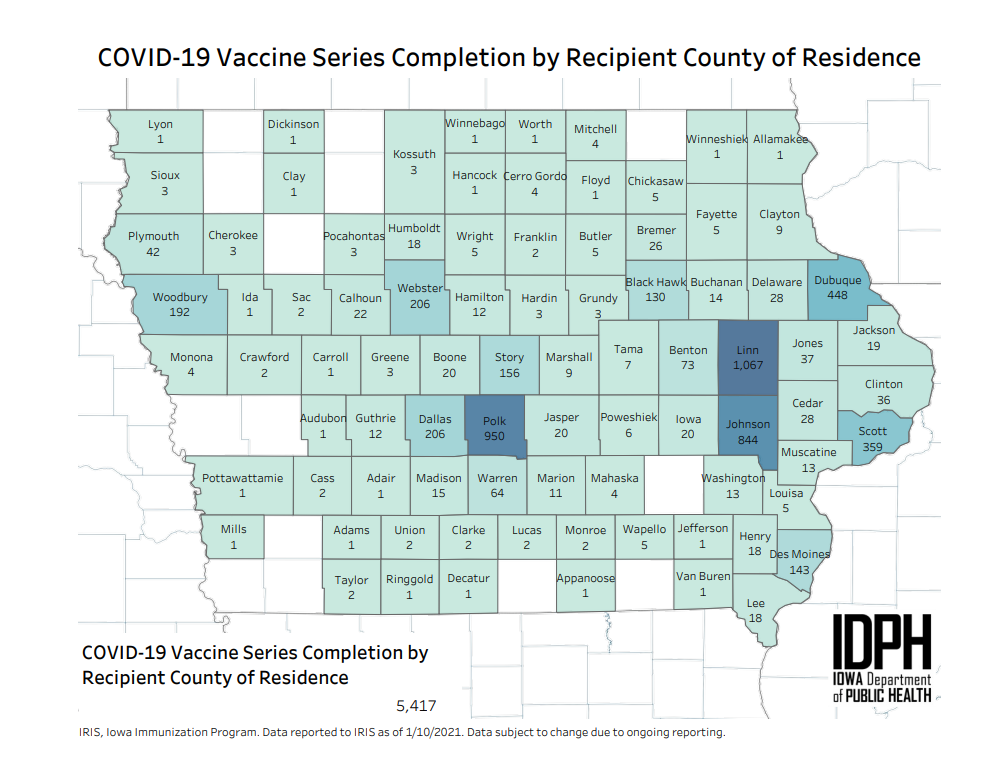 Iowa health officials publish county-level data on COVID-19 vaccinations