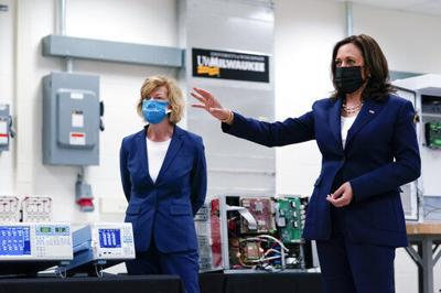 Harris touts research during first Wisconsin trip