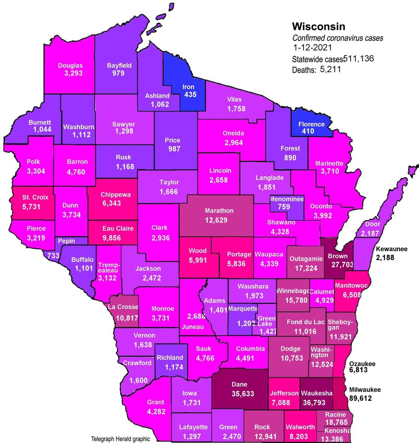 Where is COVID-19 in Wisconsin 01-12-2021