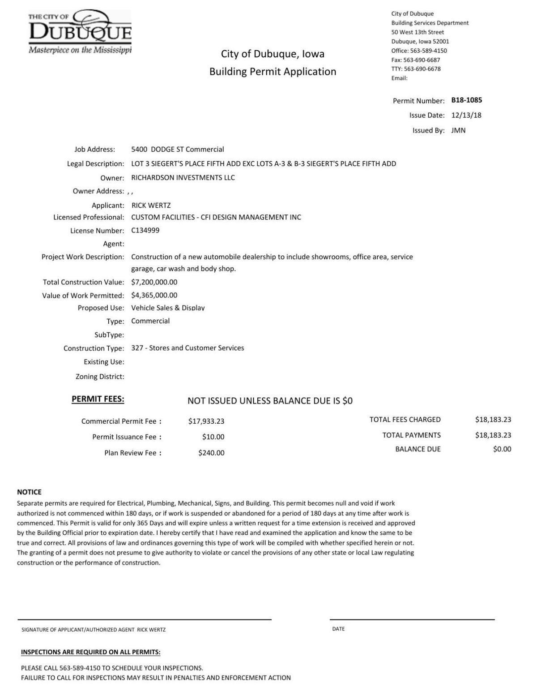 Richardson Motors building permit application