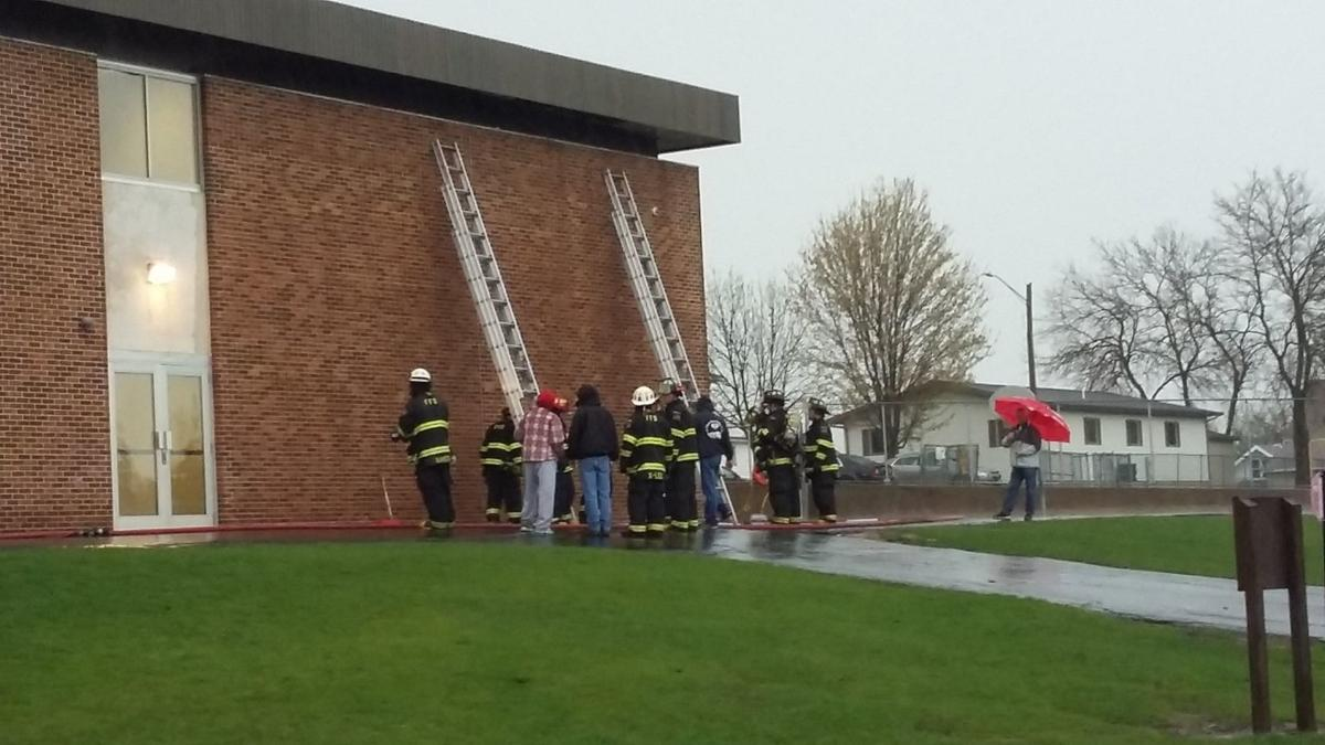 Fennimore Wis Firefighters Work At Elementary School Wednesday Morning After A Lightning Strike Sparked Fire