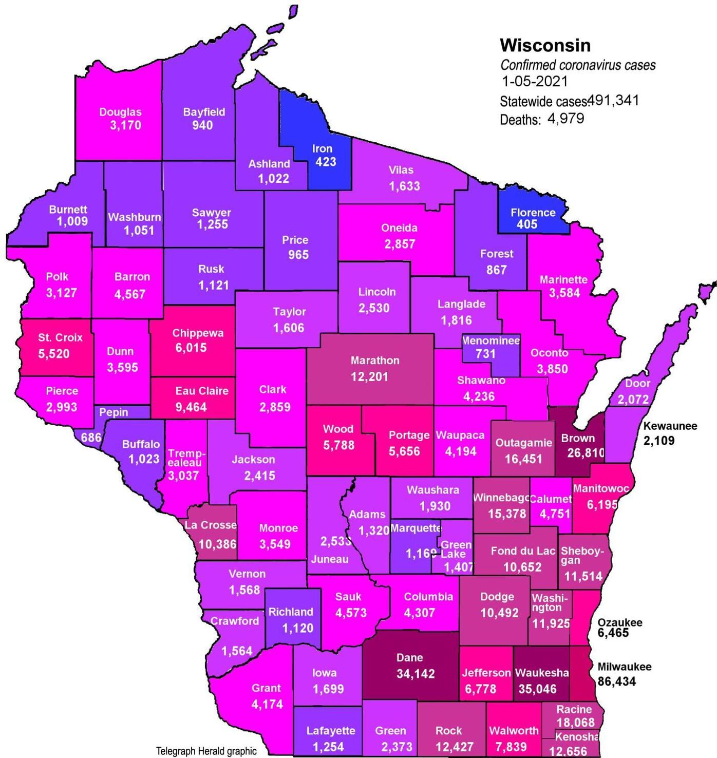 Where is COVID-19 in Wisconsin 01-05-2021