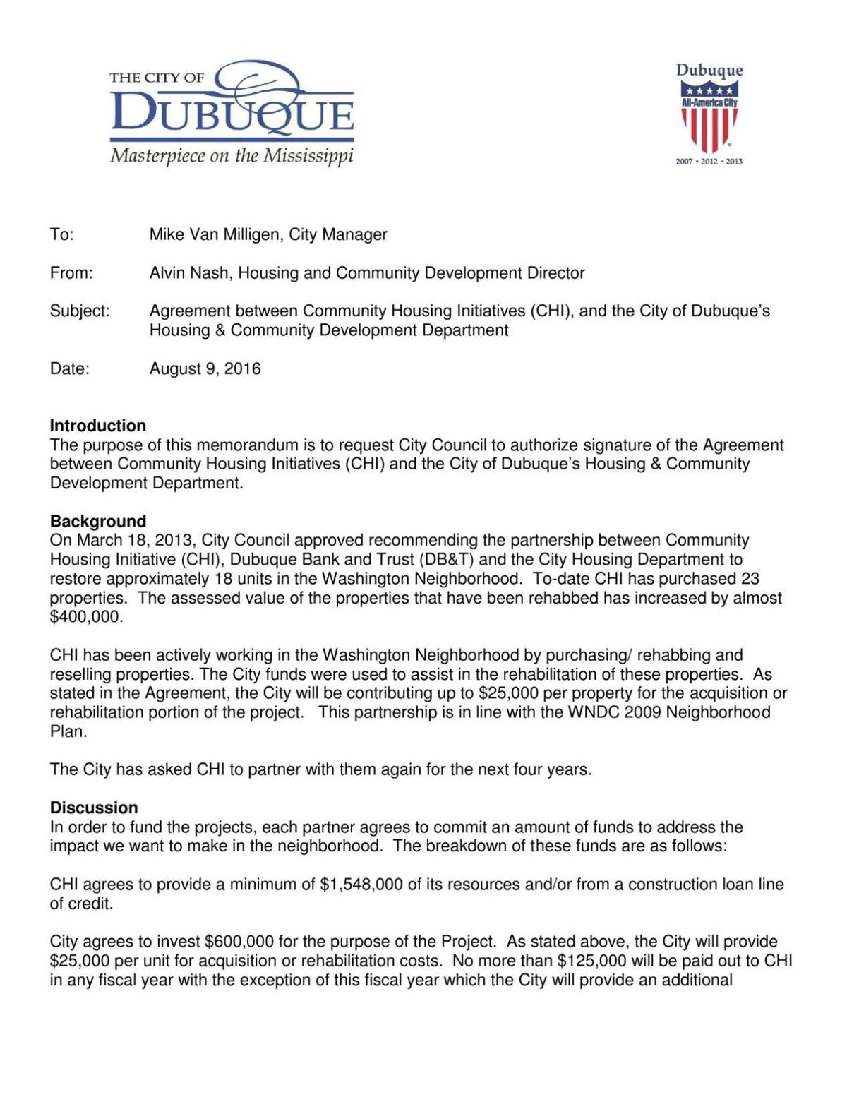 City Memo Agreement With Chi Tri State News Telegraphherald