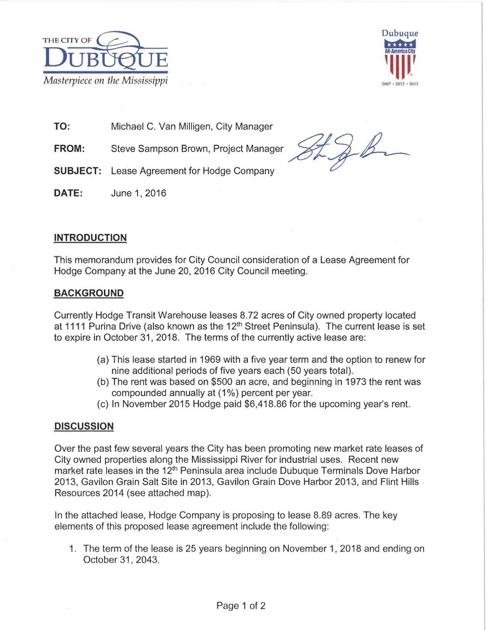 City Memo Hodge Company Lease Agreement Tri State News