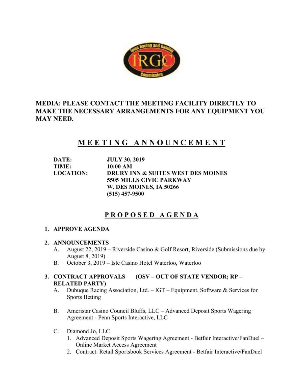 IRGC Meeting Agenda