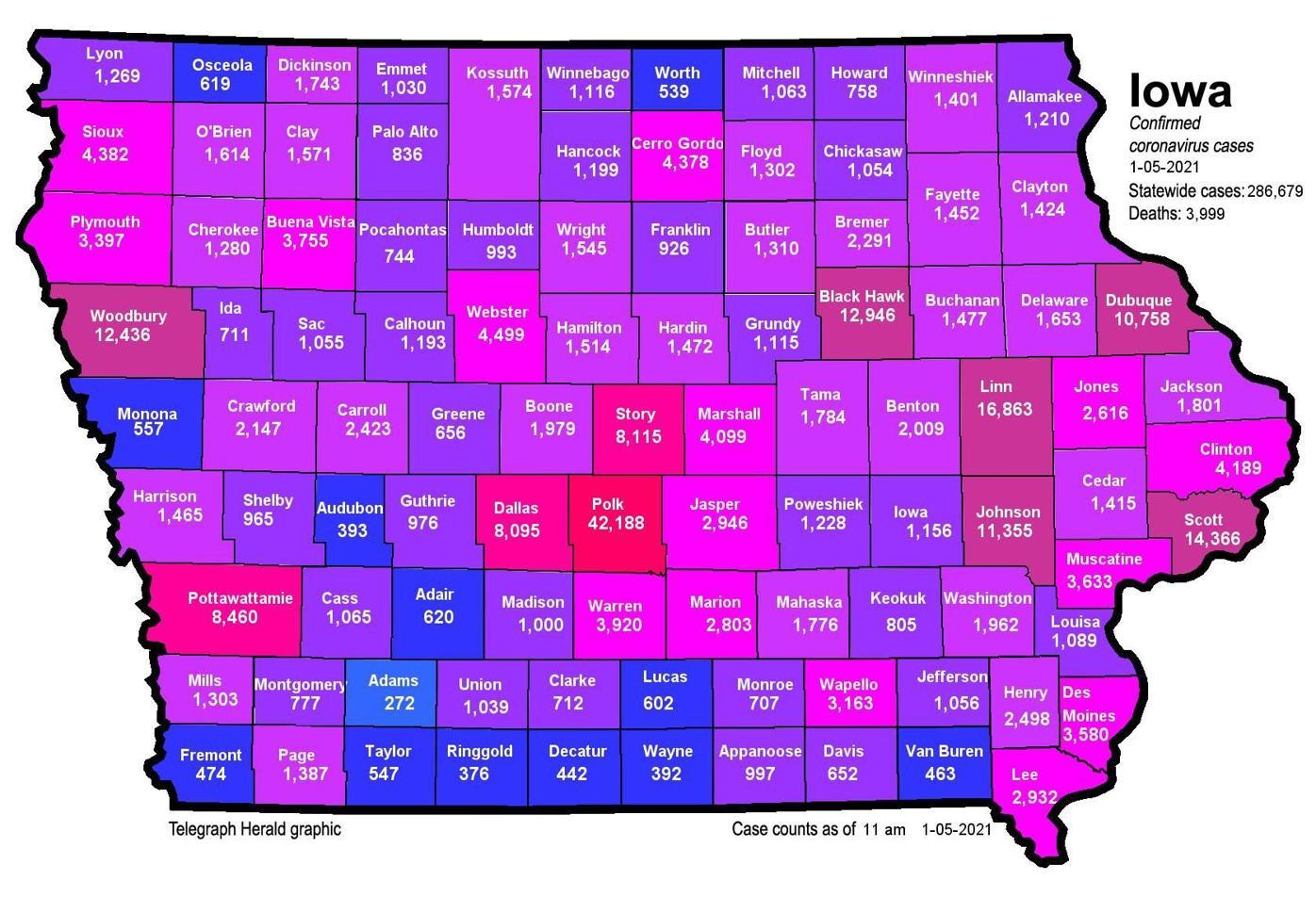 Where is COVID-19 in Iowa 01-05-2021