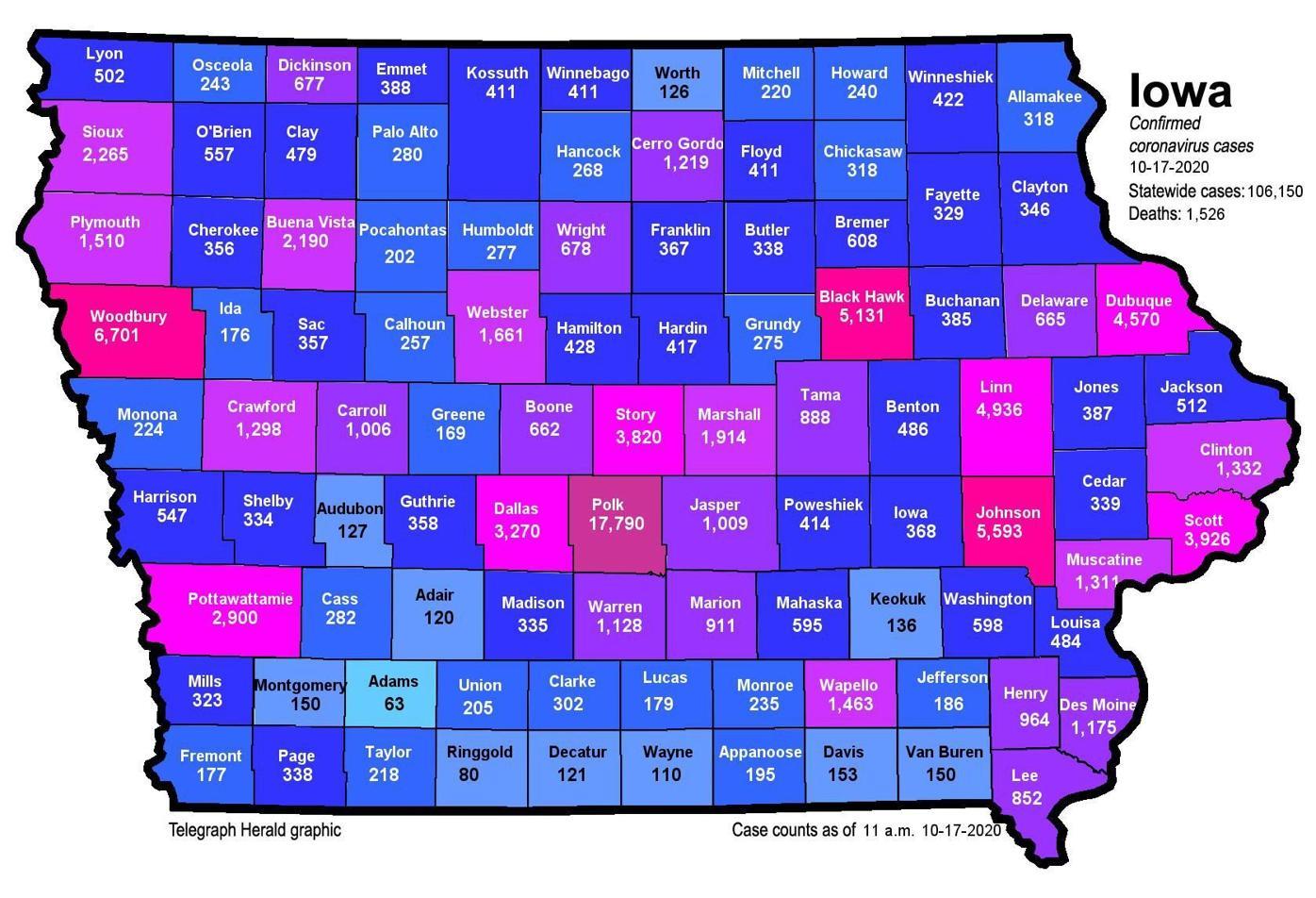 Iowa COVID-19 map for Oct. 17