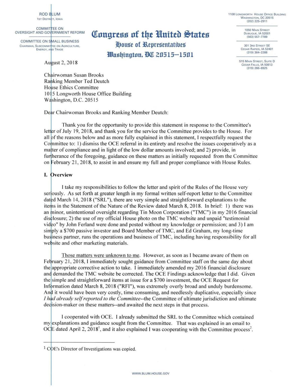 U.S. Rep. Rod Blum's response letter