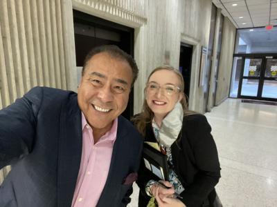 John Quiñones takes selfie with Desiree Nixon