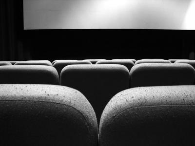 black and white movie theater