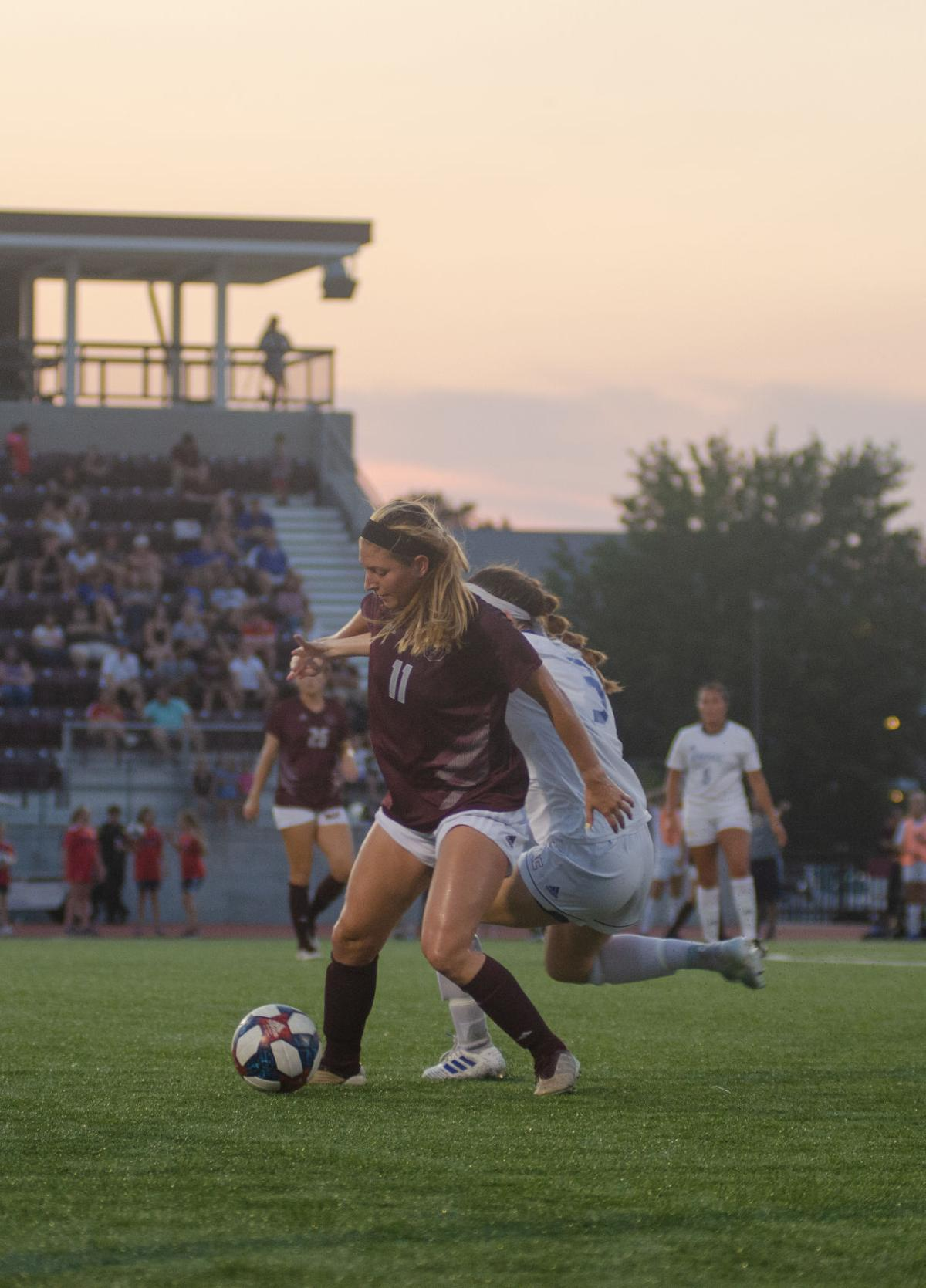 Ashley Coonfield shields the ball
