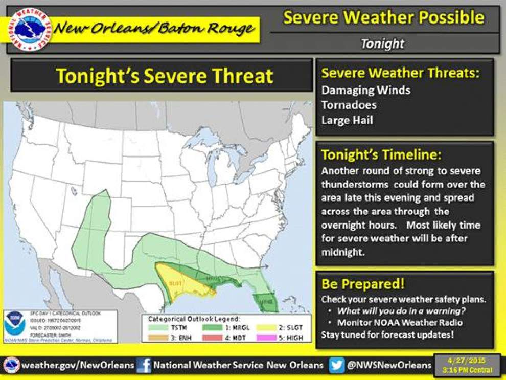 More hail, strong winds, isolated tornadoes possible in south Louisiana Tuesday morning, National Weather Service warns _lowres