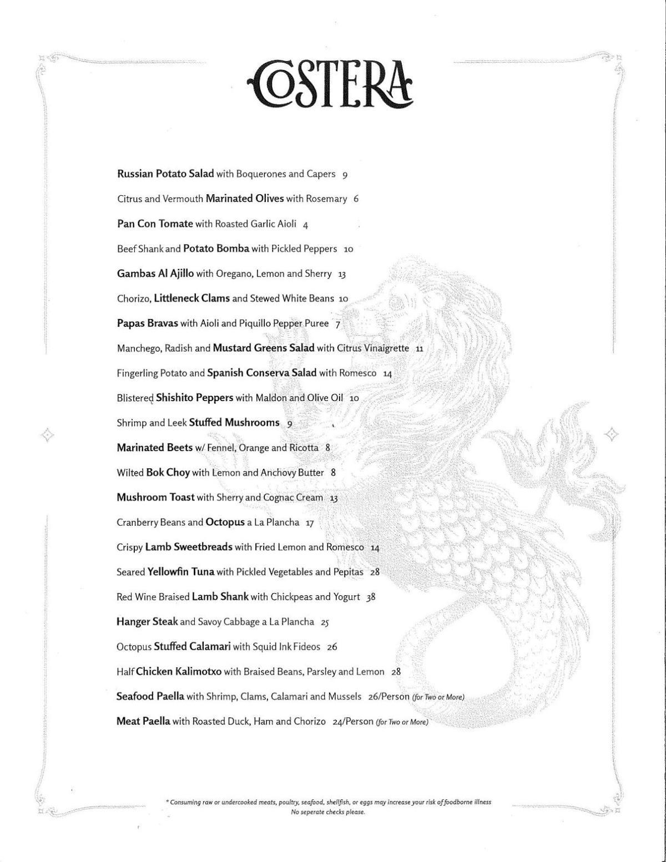 Costera menu