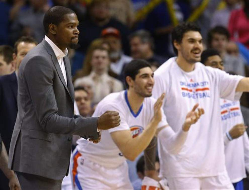 OKC forward Kevin Durant to have another surgery, will miss rest of season _lowres